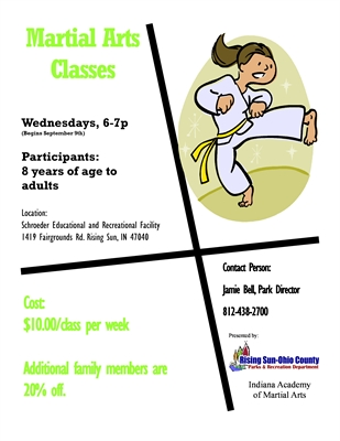 Martial Arts Classes for Ages 8 & Up Begin September 9th