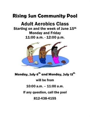 ADULT WATER AEROBICS BEGIN JUNE 15 AT RISING SUN COMMUNITY POOL