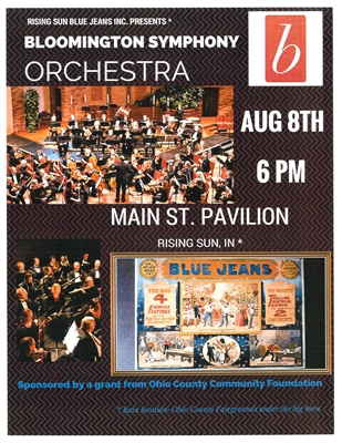 Bloomington Symphony Orchestra, Saturday, August 8 at 6:00 p.m. at Main Street Pavilion