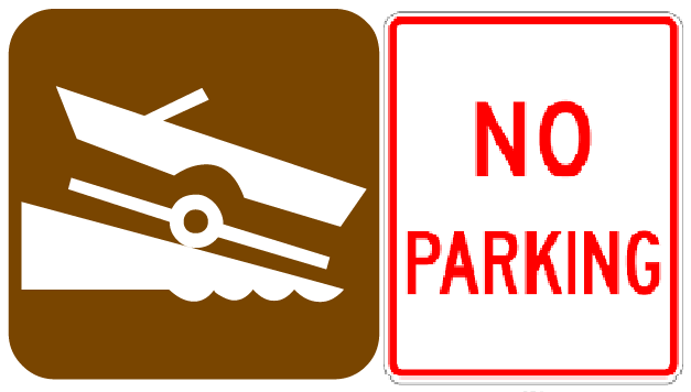 NO PARKING ON RISING SUN BOAT RAMPS
