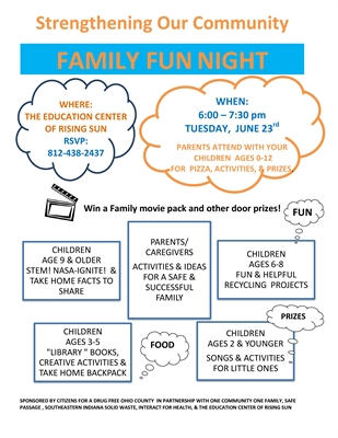 FAMILY FUN NIGHT, TUESDAY – JUNE 23RD AT THE EDUCATION CENTER OF RISING SUN