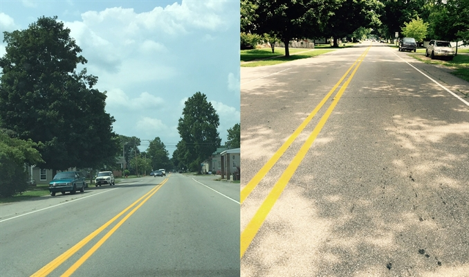 South Walnut Street OFFICIALLY striped NO PASSING.