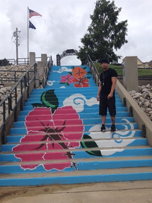 NEWEST STAIR STEP MURAL ON RISING SUN'S RIVERFRONT BY ARTIST J.J. WOLFE