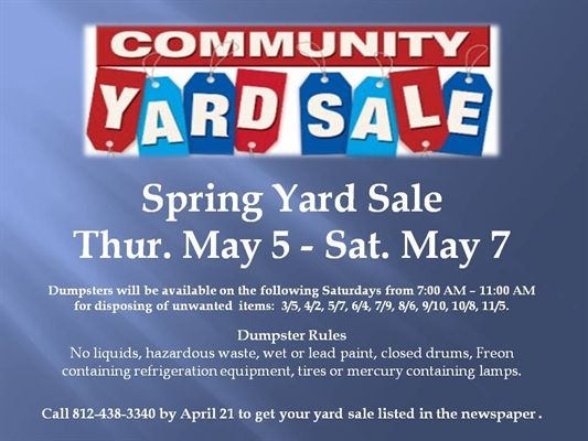 Community Yard Sale and Clean Up May 5-7