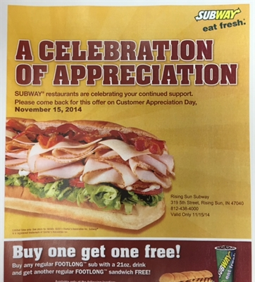 R.S. SUBWAY – CUSTOMER APPRECIATION DAY 11/15/14