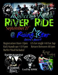 Join Survivor's Rupert for his Rupert's Kids River Ride, Saturday, Sept. 27th